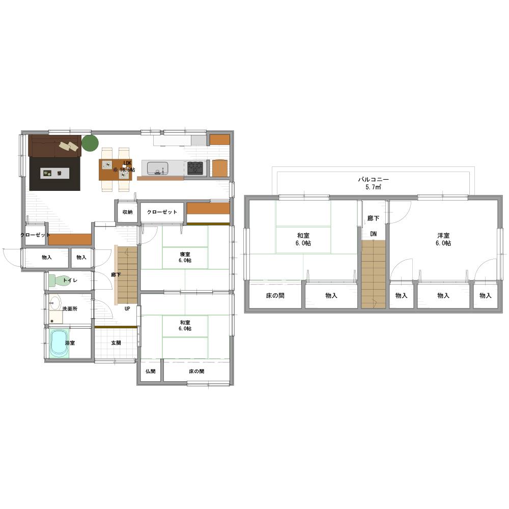 間取り画像:子育て世代の夫婦が親と一緒に住める家