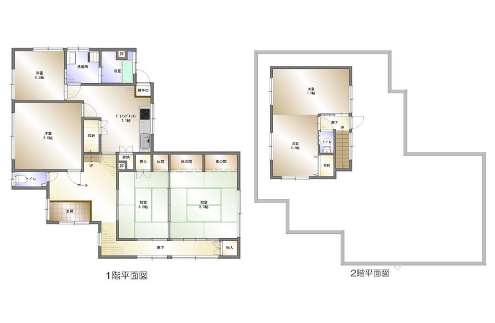 間取り画像:大家族や二世帯にも対応! 広々和室で家族が寛ぐ家