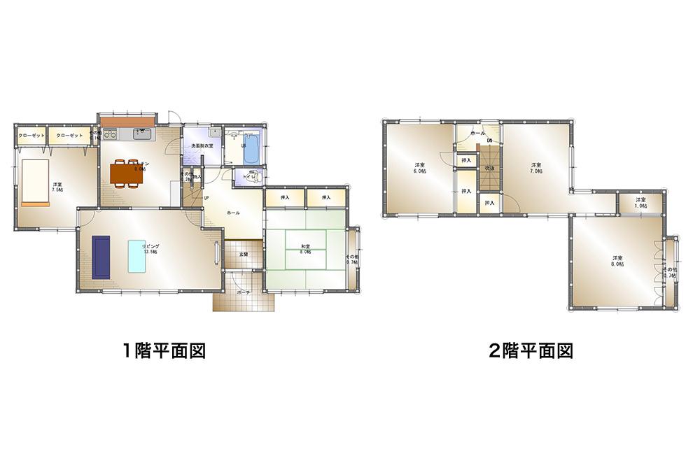 間取り画像:平屋暮らしも出来る♪ 1階の広い家